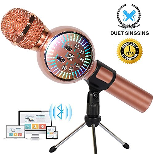 ireless Bluetooth Microphone for Kids Portable Handheld Karaoke Machine Home Party with LED lights Duet Singing Recording for Android iPhone iPad Sony PC - 1PCS (Rose Gold) ()