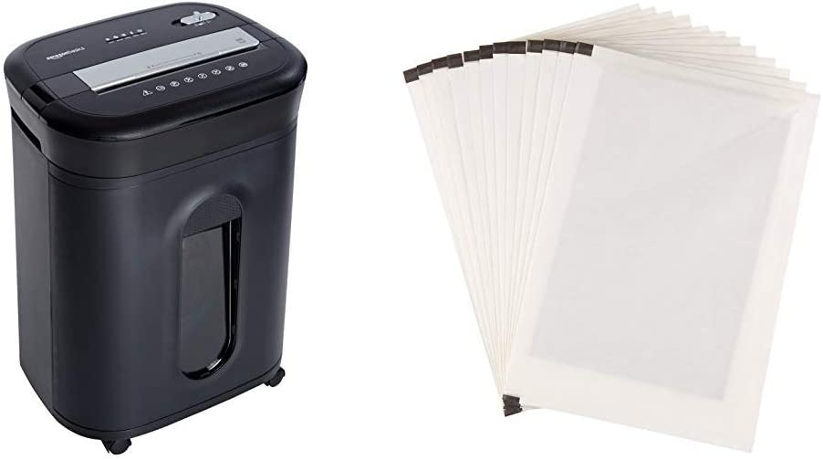 AmazonBasics 15-Sheet Cross-Cut Paper/ CD/ Credit Card Shredder &SP12A Shredder Sharpening & Lubricant Sheets - Pack of 12