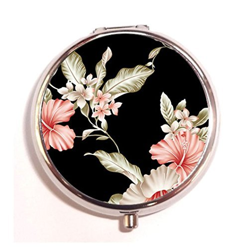 (Flowers Personalized design New Silver Round Pill Box Decorative Metal Medicine Vitamin Organizer Unique)