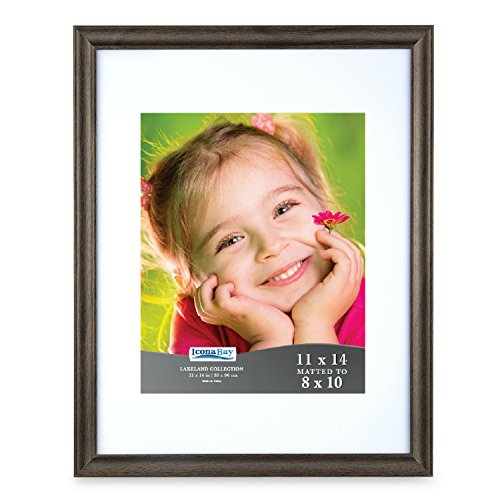 Icona Bay 11 by 14 Picture Frame (11x14, Hickory Brown) 8x10 Wood Finish Photo Frame with Mat, Wall Mount Hangers and Table Top Easel, Landscape as 10x8 Picture Frame or Portrait, Lakeland Collection (Frames 10 8 X)