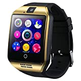 SODIAL(R) Newest Q18 Smart Watch Bluetooth Smartwatch Phone with Camera TF/SIM Card Slot for Android Samsung Galaxy S7,S6,S5,Note 5,HTC,SONY,LG,Huawei,Google Nexus (Black gold)