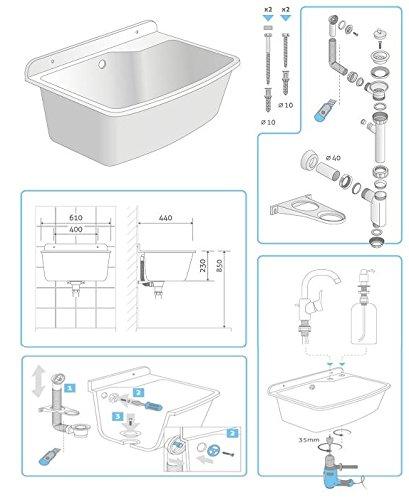 Ausgussbecken Waschtrog Sp/ülbecken 610X440 Granit Weiss Gro/ß Wandausgussbecken