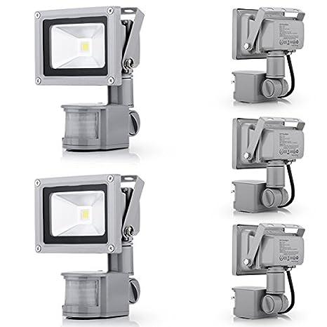 5x Foco Luz LED,10W Sensor de movimiento con Luz inalámbrico para Exteriores incluyendo Patio
