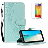 Funyye Folio Wallet Case for Samsung Galaxy A8 Plus 2018,Elegant Green Dandelion Embossed Pattern Strap Magnetic Flip Soft Silicone PU Leather Case for Samsung Galaxy A8 Plus 2018,Stand Function with Credit Card Holder Slots Case + 1 x Free Screen Protector