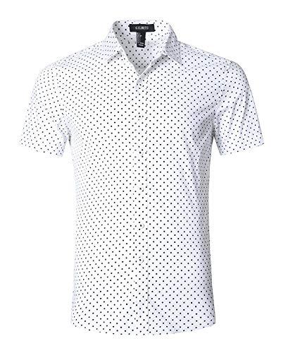 Mens Polka Dot - AVANZADA Men's Casual Dress Cotton Polka Dots Short Sleeve Shirts (X-Large, Mini Polka Dot)
