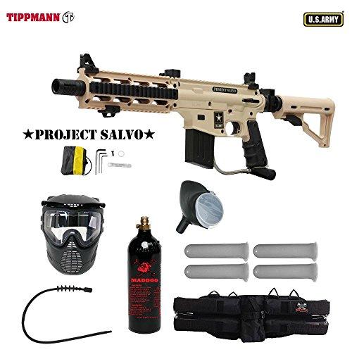 MAddog Tippmann U.S. Army Project Salvo Silver Paintball Gun Package - Tan (Shroud Barrel Flatline)