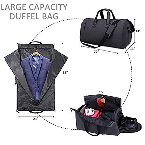 AORAEM Suit Travel Bag Carrier Luggage Cover Duffel Bag for Men Women  Overnight Weekend Flight Bag with Shoe Pouch Garment Flight Gym Bag - Black   ... 2480507a6556f