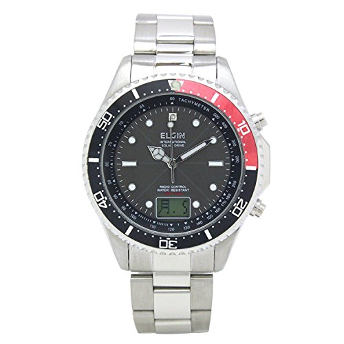 Elgin Bezel Watch (ELGIN wristwatch radio wave solar 1 point natural diamond stainless steel made in Japan move rotating bezel Red FK1400S-BRP Men)