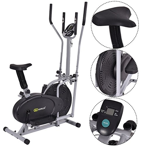 Gymax 2 IN 1 Elliptical Fan Trainer Exercise Bike Indoor Home Cycling...