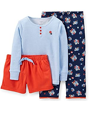 Baby Girls 3-piece Cotton & Jersey Pajamas (12-24 Months)(flowers)