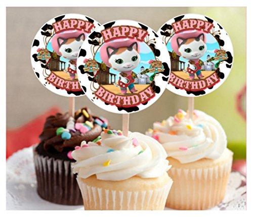 12 Happy Birthday SHERIFF CALLIE Inspired Party Picks, Cupcake Picks, CupcakeToppers]()