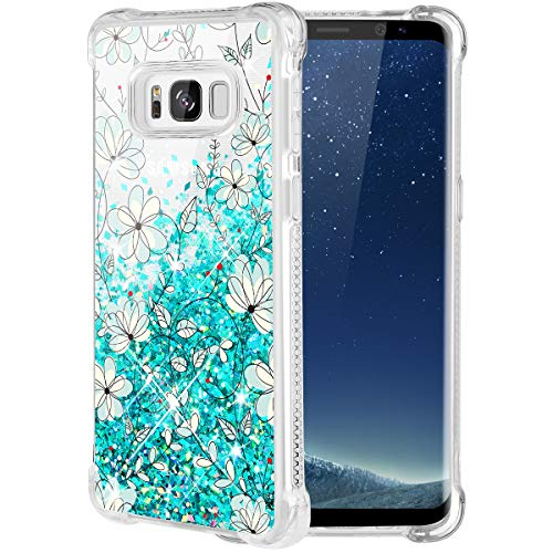 Caka Galaxy S8 Case, Galaxy S8 Floral Glitter Case Luxury Fashion Bling Flowing Liquid Floating Sparkle Glitter Soft TPU Case for Samsung Galaxy S8 (Teal - Floating Vines