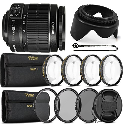 Canon EF-S 18-55mm f/3.5-5.6 Camera Lens + UV CPL ND8 Accessory Bundle for Canon T5 T5i T6 T6i 80D 70D and SL1 -  Teds, VIV-SII-ACC-14