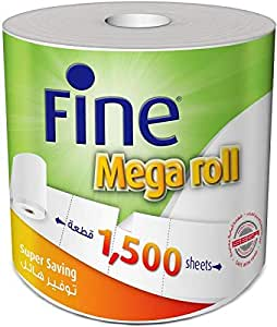 Fine Mega Roll Kitchen Paper Towel Tissue - 1500 Sheets X 1 Ply