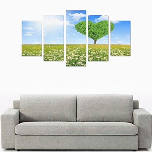 Hotel or Spa Wall Decorations Sunshine Heart Spring Love Daisy Tree Rooms Wall Paintings Living Room Canvas Prints Fashion Personalities Decor 5 Piece Canvas painting (No Frame) by sentufuzhuang Canvas Printing