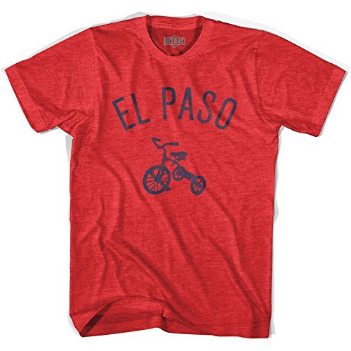 El Paso City Tricycle Adult Tri-Blend T-shirt, Heather Red, Adult Medium (Red Paso Blend)