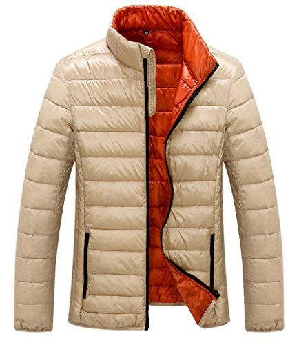 Z-SHOW™ Men's Packable Down Puffer Jacket(Khaki,US Size M Asian Size XXL) Down Snowboarding Jackets