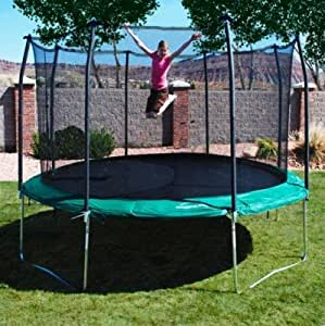 17 39 x15 39 oval trampoline and enclosure pad color green recreational trampolines. Black Bedroom Furniture Sets. Home Design Ideas