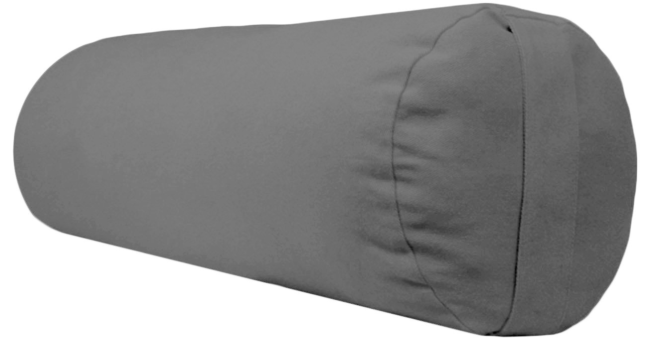 YogaAccessories Supportive Round Cotton Yoga Bolster (Light Gray)
