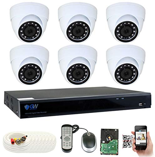 - GW Security 8 Channel H.265 DVR 2TB HDD CCTV 5MP Video & Audio Surveillance Security Camera System - 6 x 5MP HDTVI Weatherproof Microphone Dome Cameras