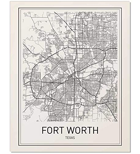Fort Worth Poster, Fort Worth Map, City Map Posters, Fort Worth, Texas Map Wall Art, Black and White Map, Modern Map Art, Minimalist Poster, Scandinavian Poster, Fort Worth Art, 8x10 inch