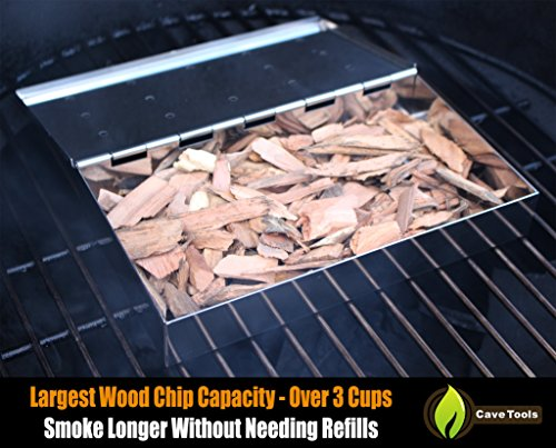 Smoker Box Maximum Wood Chip Capacity - 25% Thicker Stainless Steel Won't WARP - Charcoal & Gas Grill BBQ Meat Smoking Hinged Lid - Best Grilling Accessories & Barbecue Utensils for Dad by Cave Tools (Image #3)