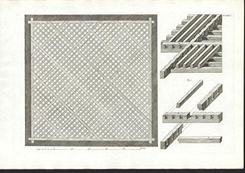 Wooden Lattice Pattern c.1835 large antique folio Italian architecture print