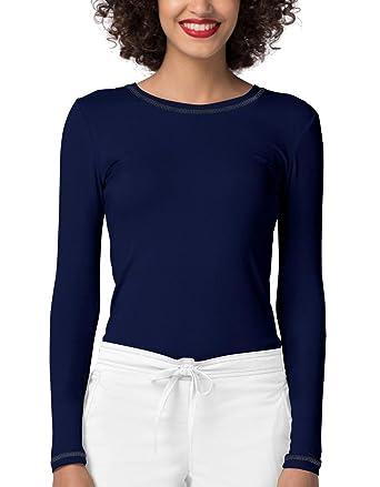 427745dc2 Adar Womens Comfort Long Sleeve Fitted T-Shirt Underscrub Tee- 3400 - Navy -