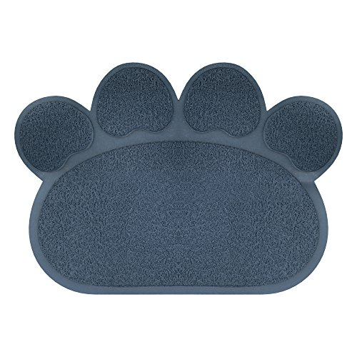 tter Mat for Dogs and Cats- Floor Protecting Paw Shaped Mat for Cat and Dog Bowls- BPA and Phthalate Free By PETMAKER (Navy) (Paw Print Cat Bowl)