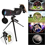 Fiturbo x Eyeskey 15-45x60 BAK4 Porro Prism Spotting Scope Monocular Telescope Waterproof with Portable Tripod and Universal Cell Phone Adapter Mount for Bird Watching, Stargazing, Hiking, Shooting