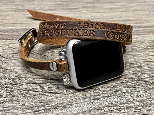 Series Universal Fashion - Brown Leather Strap For Apple Watch All Series (38mm, 40mm Size) Handcrafted Multi Wrap Adjustable Size Women Slim Bracelet Apple iWatch Band With Embossed Inspirational Words