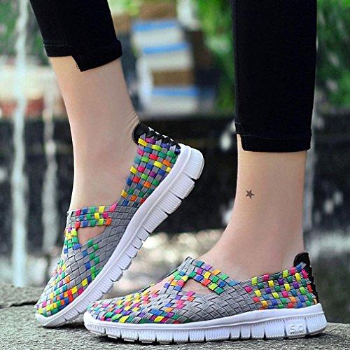 2018 Moda de RETUROM para Los Gris Mujeres los Las Zapatos Planos Zapatos la de Mujer Zapatos Calzan los de Zapatos Respirables Casuales Corrientes Tejidos zx46qw