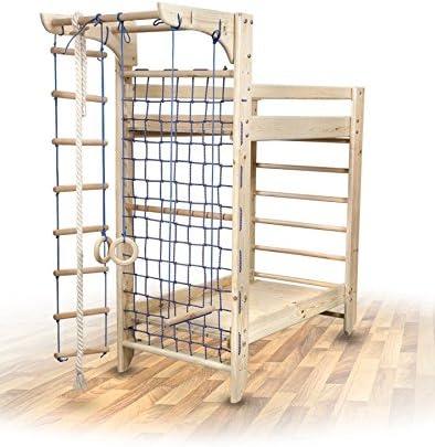 FunnyClouds lay&Sleep Litera de actividades, con espaldera, red para trepar, cuerda y escalera, 2 camas: Amazon.es: Hogar