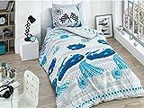 Bekata Racer, 100% Cotton Cars Bedding Set, Cars Themed Boys Bedding Single/Twin Size Quilt/Duvet Cover Set, Blue Grey (3 PCS)