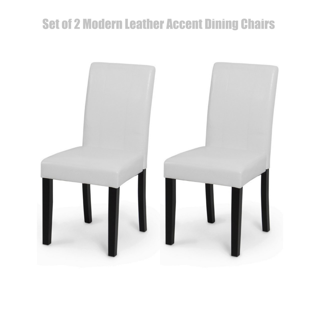 Modern Design High Backrest Dining Chairs Sturdy Hardwood Legs Unique PU Leather High Density Foam Seat Home Office Furniture Set of 2 White #1452wh