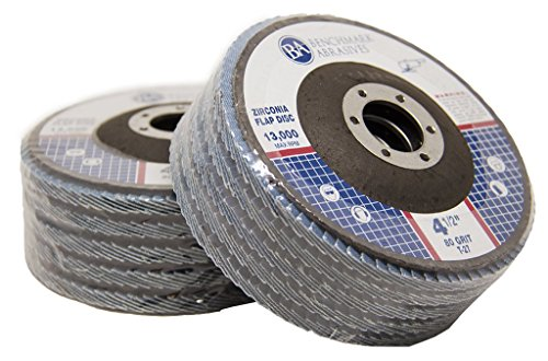 4.5'' x 7/8'' Premium Zirconia Flap Discs Grinding Wheels 80 Grit Type 27-10 Pack by Benchmark Abrasives (Image #4)