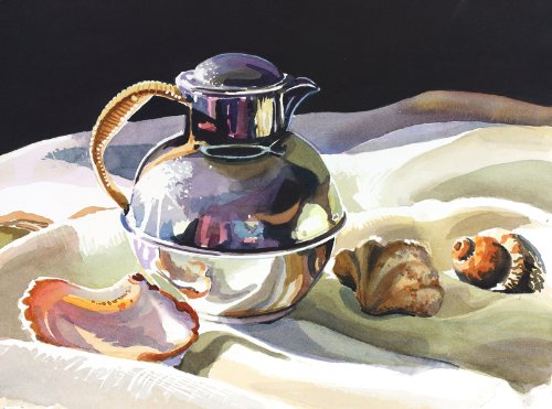 Silver and Seashells, Giclee Print of Watercolor Still Life with Teapot, Various Sizes