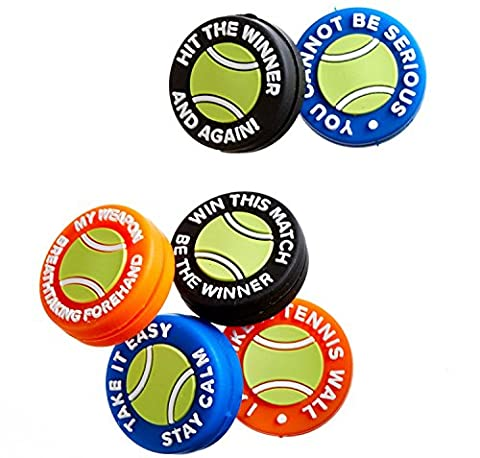 BusyBee Vibration Dampener (Pack of 6) with 6 Mottos in Tennis Ball Zipper Pouch - Close Damper Pull