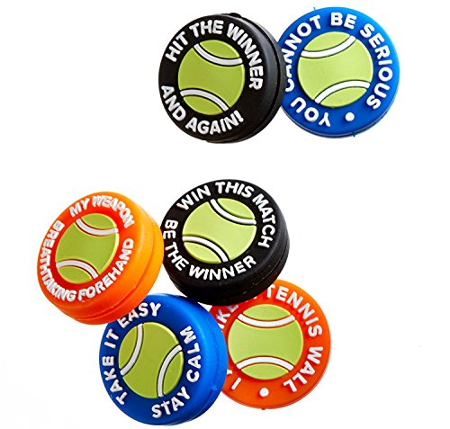 BusyBee Vibration Dampener (Pack of 6) with 6 Mottos in Tennis Ball Zipper Pouch