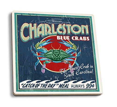 (Lantern Press Charleston, South Carolina - Blue Crabs Vintage Sign (Set of 4 Ceramic Coasters - Cork-Backed,)