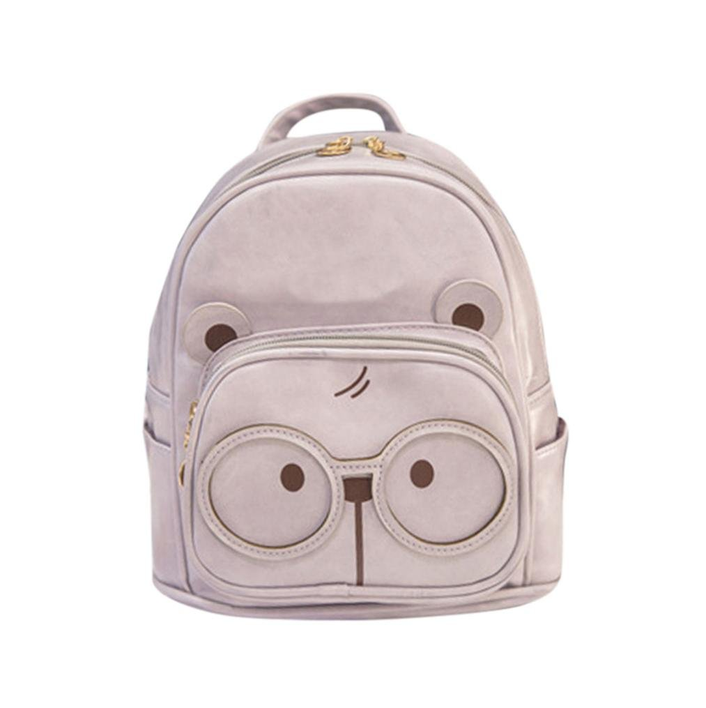 Transer Women Girls Cute Large Glasses of Bear Pattern PU Leather Travel Backpack / Bookbag / Rucksack / School Bag (Gray)