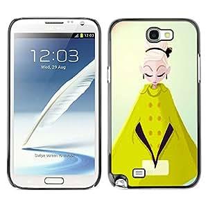 GOODTHINGS Funda Imagen Diseño Carcasa Tapa Trasera Negro Cover Skin Case para Samsung Note 2 N7100 - el cabo de gabardina mostaza mujer moda amarilla