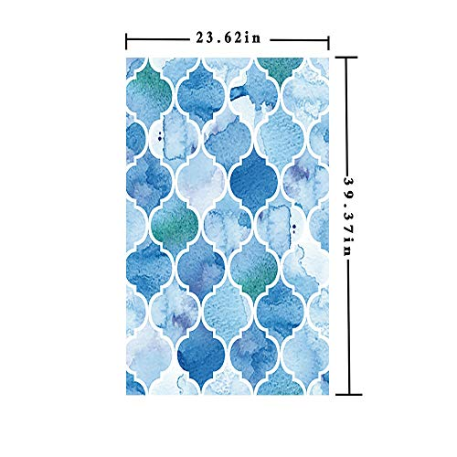 3D No Glue Static Decorative Privacy Window Films,Abstract Moroccan Trellis Geometric Pattern Curves Persian Mosaic Design,W15.7xL63in,for Living Room Bathroom Kitchen Front Door with Blue Baby Blue