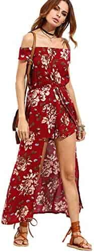 5e20f2fddaa Milumia Women s Off Shoulder Floral Bardot Longline Bohemian Split Maxi  Romper Dress