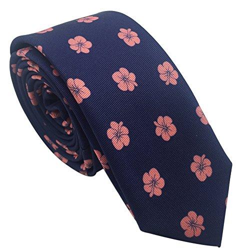 Flowers New Necktie - AINOW New Fashion Classic Pattern 5cm/2'' Skinny Tie Mens Necktie (Navy and Pink Flowers)