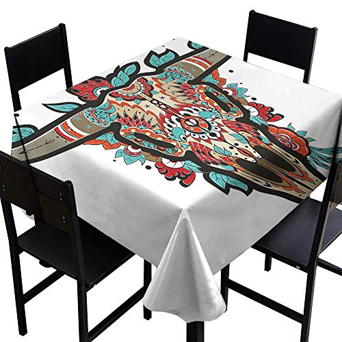StarsART Tablecloth Round Western,Buffalo Sugar Mexican Skull Colorful Ornate Design Horned Animal Trophy,Turquoise Red Taupe D50,Rectangle Tablecloth Dinner Picnic