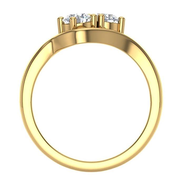 Juego de anillos de boda de diamante de doble piedra de 0,66 ...