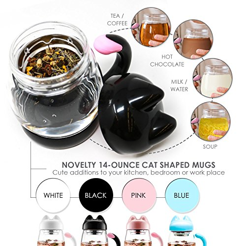 Cute Cat Tea Mug Cup   With Strainer   Infuser   Cat Lover Gifts For Cat Lovers And Women   Cat Themed Stuff Items Presents Things Gift   Portable Black Travel Glass Mugs And Cups   Kitty Mug Lid 14Oz