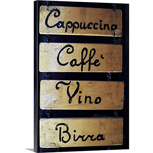 Canvas on Demand Premium Thick-Wrap Canvas Wall Art Print entitled Italy, Veneto, Venice, coffee, wine and beer sign outside a bar 16