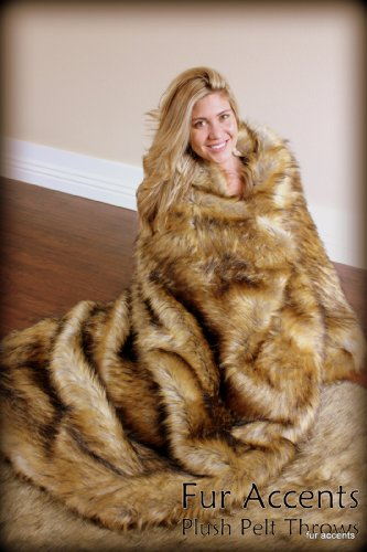 Fur Accents Coyote Faux Fur Throw Blanket / Plush Fur Face with Silky Soft ''Minky'' Fur Backing - Large Adult Size 5'x6' by Fur Accents